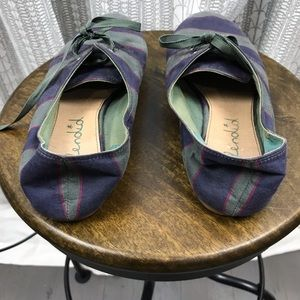 Splendid Shoes - Splendid Army Green Blue Striped Lace Up Flats